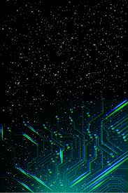 Black Luminous Green Blue Circuit Board Line Fluorescent