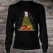 Christmas T Shirts Led Lights Bull Terrier Christmas Tree Led Lights Shirt