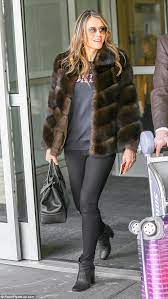 Elizabeth hurley wore a dress by. Liz Hurley Looks Chic In A Fur Coat As She Touches Down In New York Coat Fur Coat Black Fur Coat