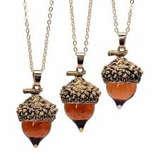 details about acorn oak pendant top antique bronze silver gold water drop glass women fashion