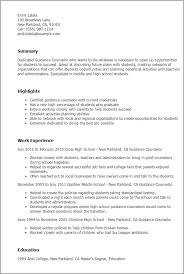 Professional Guidance Counselor Templates To Showcase Your Talent within College  Counselor Resume