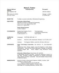Mechanical Engineering Resume For Fresher Pictures Of Resume Samples