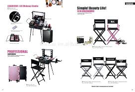 aluminum professional rolling makeup beauty case with lighted mirror stands chair philippines