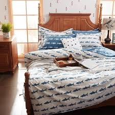 cerulean blue and white ocean life shark print shabby chic reversible 100 organic cotton twin full queen size bedding sets for children
