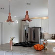 Copper Top Kitchen Table Pendant Lights With Beautiful Copper Shades Become The Center Of