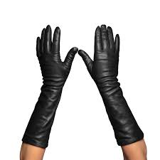 women s long leather gloves black
