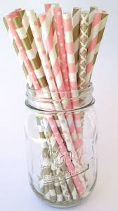 Gold Paper Straws Pink Paper Straws Party Decor Bridal Shower