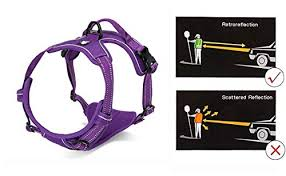 Juxzh Soft Front Dog Harness Best Reflective No Pull Harness With Handle And Two Leash Attachments