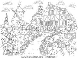 coloring page rural landscape farm house stock vector royalty free 726029317 shutterstock