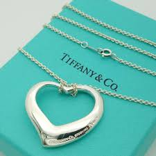 details about tiffany co sterling silver elsa peretti large open heart pendant 18 necklace
