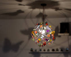 fun lighting for kids rooms. CUSTOM XL Pendant Lamp Chandelier With Butterflies-Shadow Lamp,fun Light,colorful, Fun Lighting For Kids Rooms