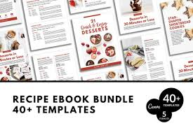 recipe book formats bundle canva recipe book cookbook template canva ebook template canva cover recipe cookbook opt in freebie content upgrade lead magnet