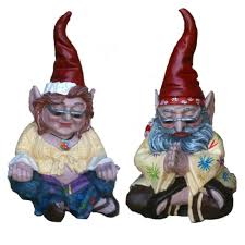 homestyles 10 in h 60 s peace man and hippie zen gnome couple home and garden gnome statue 35111 the