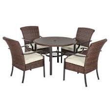 harper creek 5 piece wicker round outdoor dining set with cushions included choose your