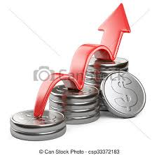 Silver Dollar Chart Red Arrow Up And Bar Chart Diagram Of Silver Dollar Coins
