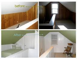 painting faux wood paneling before and after
