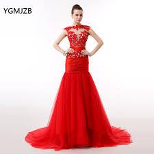 <b>Elegant Red</b> Long Evening Dress <b>2018</b> Mermaid Sheer Top Lace ...