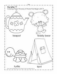 The Letter T Coloring Pictures Worksheets