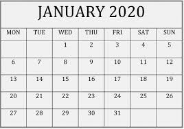 Small Printable 2020 Calendar Printable January 2020 Calendar Editable Pages Free Latest