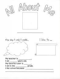 Small Picture Free Printable All About me Worksheets For Kids Color On Pages