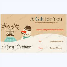 Microsoft Word Gift Certificate Template Snowman Reindeer Christmas Gift Certificate Template