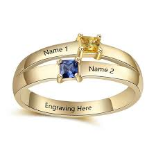 details about custom gold plated ring couple birthstone name ring diy wedding engagement gifts