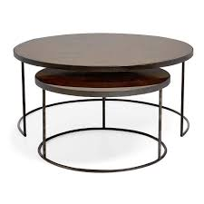 reflect round bronze metal nesting tables