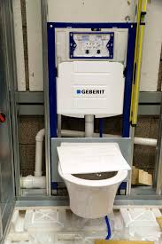 Geberit frame with wall-hung toilet fixture attached/installed