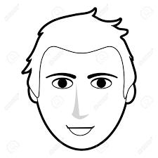 黒シルエット漫画正面顔男髪型ベクトル イラストのイラスト素材ベクタ