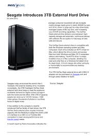 seagate introduces 3tb external hard