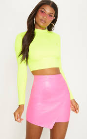 hot pink faux leather wrap mini skirt image 1