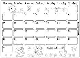 September 2019 Kalender Thema Kleurplaat Kleurplaat Kalender