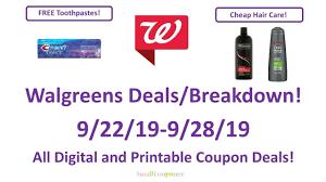 Walgreens Deals Breakdown 9 22 19 9 28 19 All Digital And Printable Coupon Deals