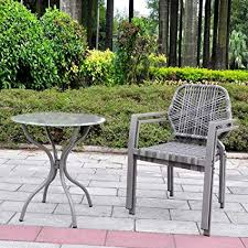 art to real 3 pcs all weather outdoor bistro set resin wicker outdoor patio