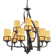 quoizel ky5009ib imperial bronze kyle 9 light 2 tier 35 wide chandelier with onyx pillar candle shades lightingshowplace com