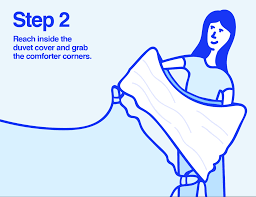 infographic of woman putting a duvet cover over comforter