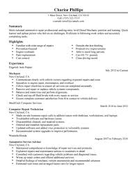Diesel Mechanic Resume Cover Letter Virtren Com