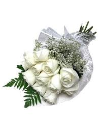 white roses wrapped bouquet in waverly