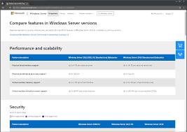 Windows Server 2008 R2 Versions Comparison Chart Windows Server 2019 Standard Datacenter Essentials Hyper