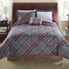 mainstays 8 piece bed in a bag bedding comforter set grey plus red plaid multiple sizes com
