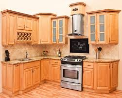 Kitchen, Natural Maple Kitchen Cabinets Ideas With Black Stove: Best