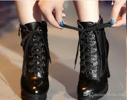 2016 street fashion lace up ankle boots black leather knight boots y high heels women motorcycle boots short boots