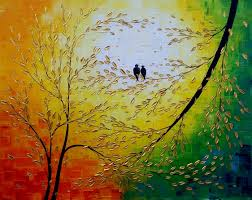 Painting Canvas Acrylic Painting Love Birds Painting Modern Painting Flower