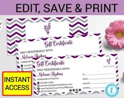 Younique Gift Certificate Template Younique Product Etsy