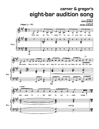 There are generally 4 beats to a measure, so each bar is a count from 1 to 4 dictated by the speed of the song. Carner Gregor S Eight Bar Audition Song Newmusicaltheatre Com Sheet Music Newmusicaltheatre