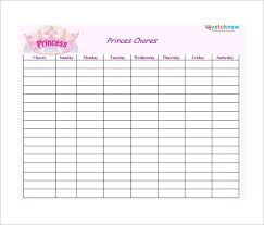 Blank Printable Chore Charts For Adults 30 Weekly Chore Chart Templates Doc Excel Free