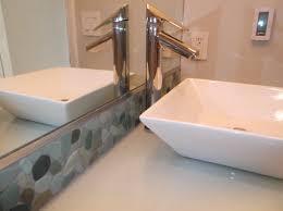 Sliced Sea Green Pebble Tile Bathroom Vanity Backsplash Subway - Tile backsplash in bathroom