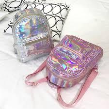 Silver Gold <b>Pink</b> Laser <b>Backpack women</b> girls Bag leather ...