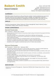 General Resume Samples General Contractor Resume Samples Qwikresume