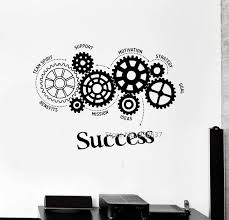 office wall stickers. Quotes Vinyl Wall Decal Success Words Gears Office Motivation Removable Art Stickers Inspirational Sticker For